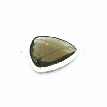 19.5*19.5mm Smoky quartz triangle crystal connector - with 2 rings